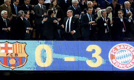 Bayern lost an amazing 7-0 on agg to Barca.. incredible..